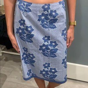 Boden Blue & White Flower Skirt